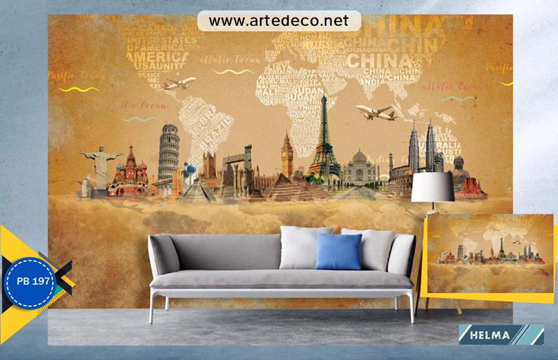 پوستر دیواری شهر ها برای آزانس مسافرتی